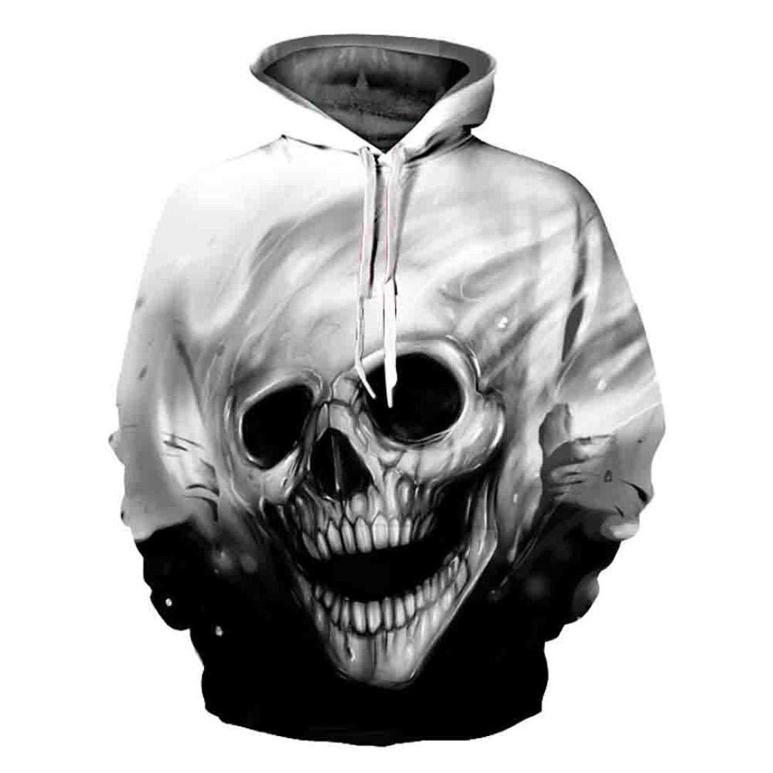 Unisex 3D Skull Printed Pullover Hoodies Long Sleeve Sweatshirt for Men Women Warm Coat Top