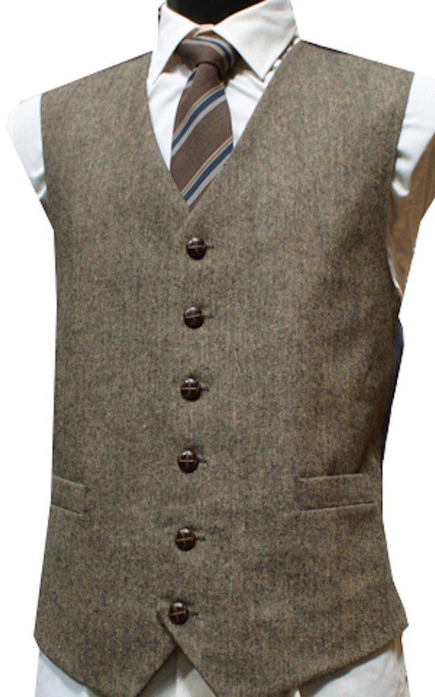 Lloyd Attree & Smith Mens Wool Blend Donegal Tweed Waistcoat Vest Gilet - Brown