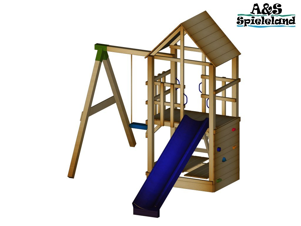 Spielturm BASTI 2.0 Set 1 Rutsche 240 cm Kletterturm Schaukel Pfosten 9x9cm