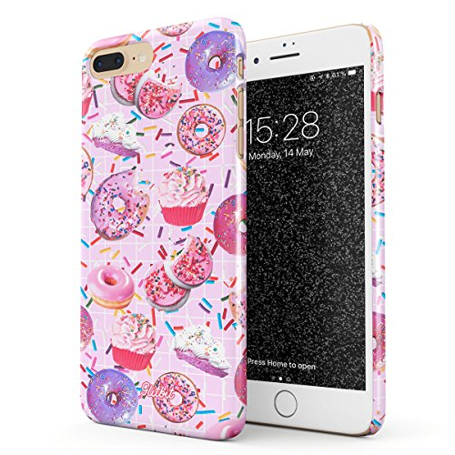 Glitbit Compatible with iPhone 7 Plus / 8 Plus Case Donut Worry Be Happy Sweet Sin Guilty Pleasure Sprinkle Doughnut Accessories Rip Diet Thin Design Durable Hard Shell Plastic Protective Case Cover