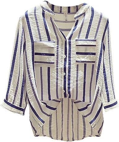 Sunnywill Camisetas Mujer Tallas Grandes Rayas Originales Blusa Mujer Elegante Manga Largo Algodón Gasa Otoño Fiesta Camisas T Shirt Women Tops Invierno: Amazon.es: Ropa y accesorios