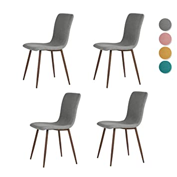 Peachy Ihouse Set Of 4 Dining Side Chairs Fabric Cushion Kitchen Chairs With Sturdy Metal Legs For Dining Room Living Room Grey Home Interior And Landscaping Oversignezvosmurscom