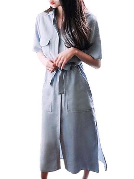 ca3e14254e52 BESTHOO Maxi Vestito Estive Donna Abiti Da Chemisier Con Pulsante Femminili Vestiti  Con Cintura Elegante Dress Puro Colore Abito Manica Mezza  Amazon.it  ...