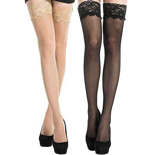 b8de1791e7a Image Unavailable. Image not available for. Color  MANZI 2 Pairs Women s  Sheer Thigh High Stockings Sexy Lace Silicone Stay Up Pantyhose