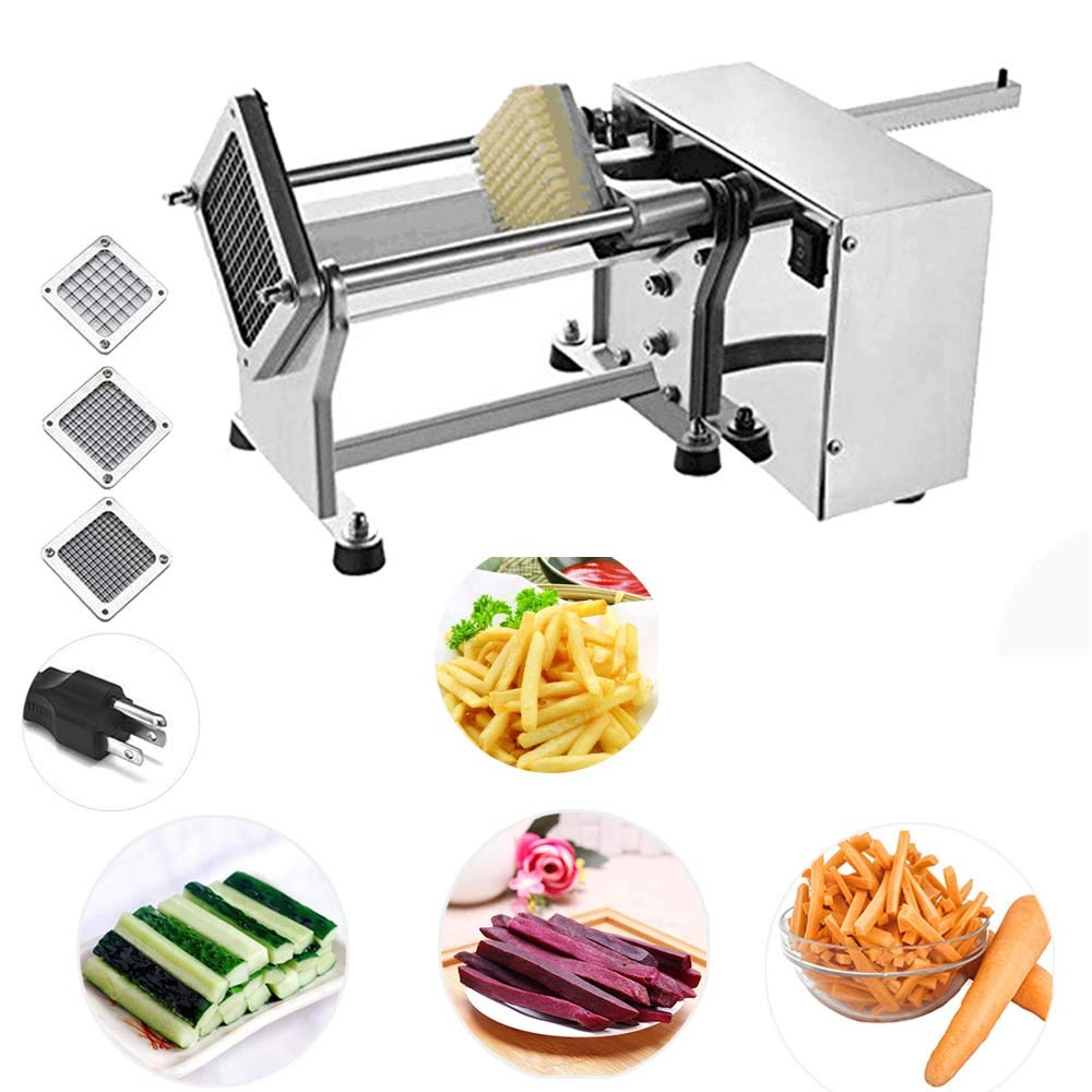 Li Bai Electric French Fry Cutter Commercial Potato Slicer Vegetable Chopper Fries Chip Maker for Tornado Potatoes Making (Auto) 3 sizes of replaceable blades DHL Shipping