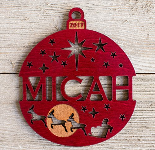 Personalized Christmas Ornament 2017 or 2018 Solid Wood Santa's Reindeer Design. Ships Fast! - 1 Stained Wood