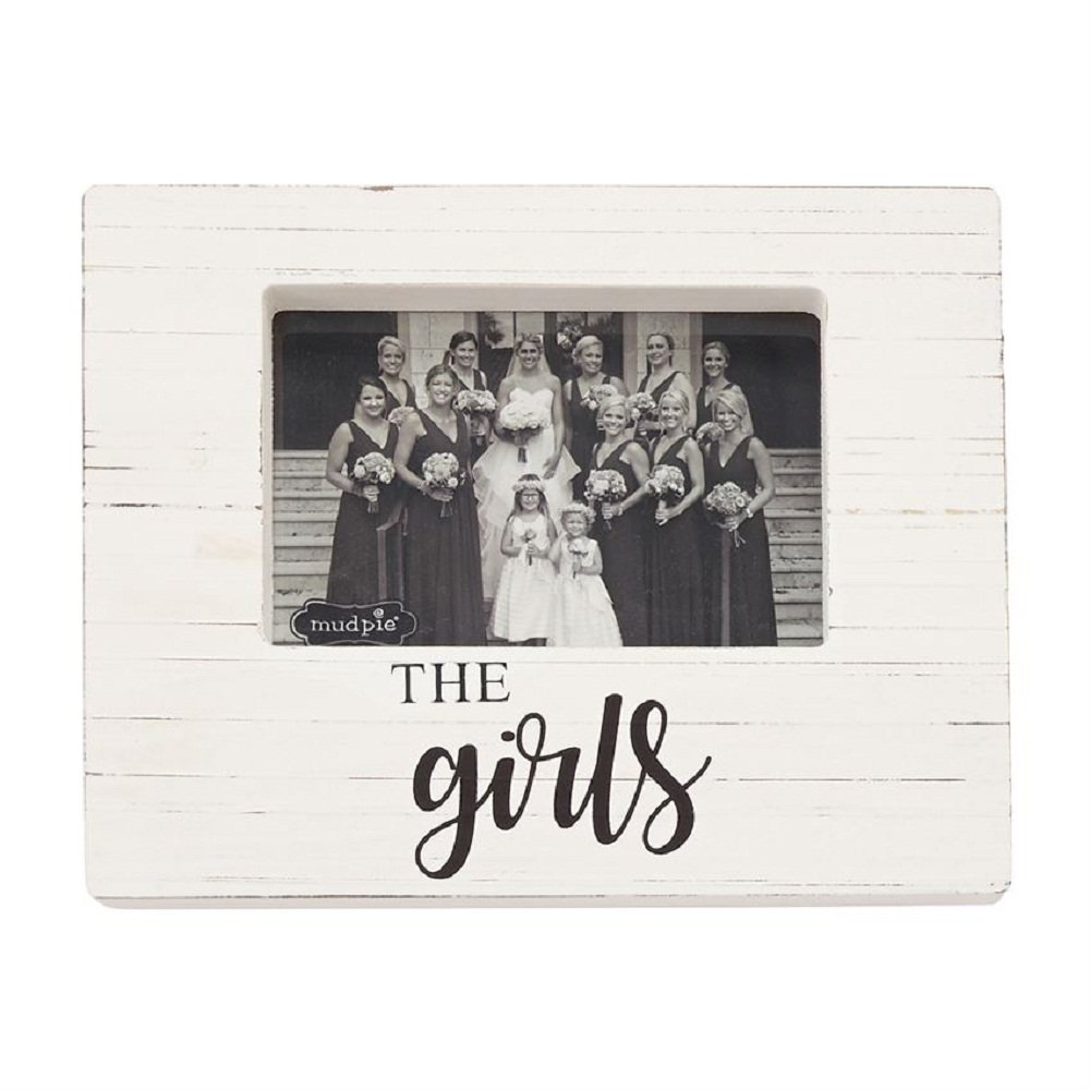 Mud Pie 4693019 The Girls Wooden Block Frame, One Size, White
