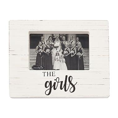 Mud Pie 4693019 The Girls Wooden Block Frame, One Size, White