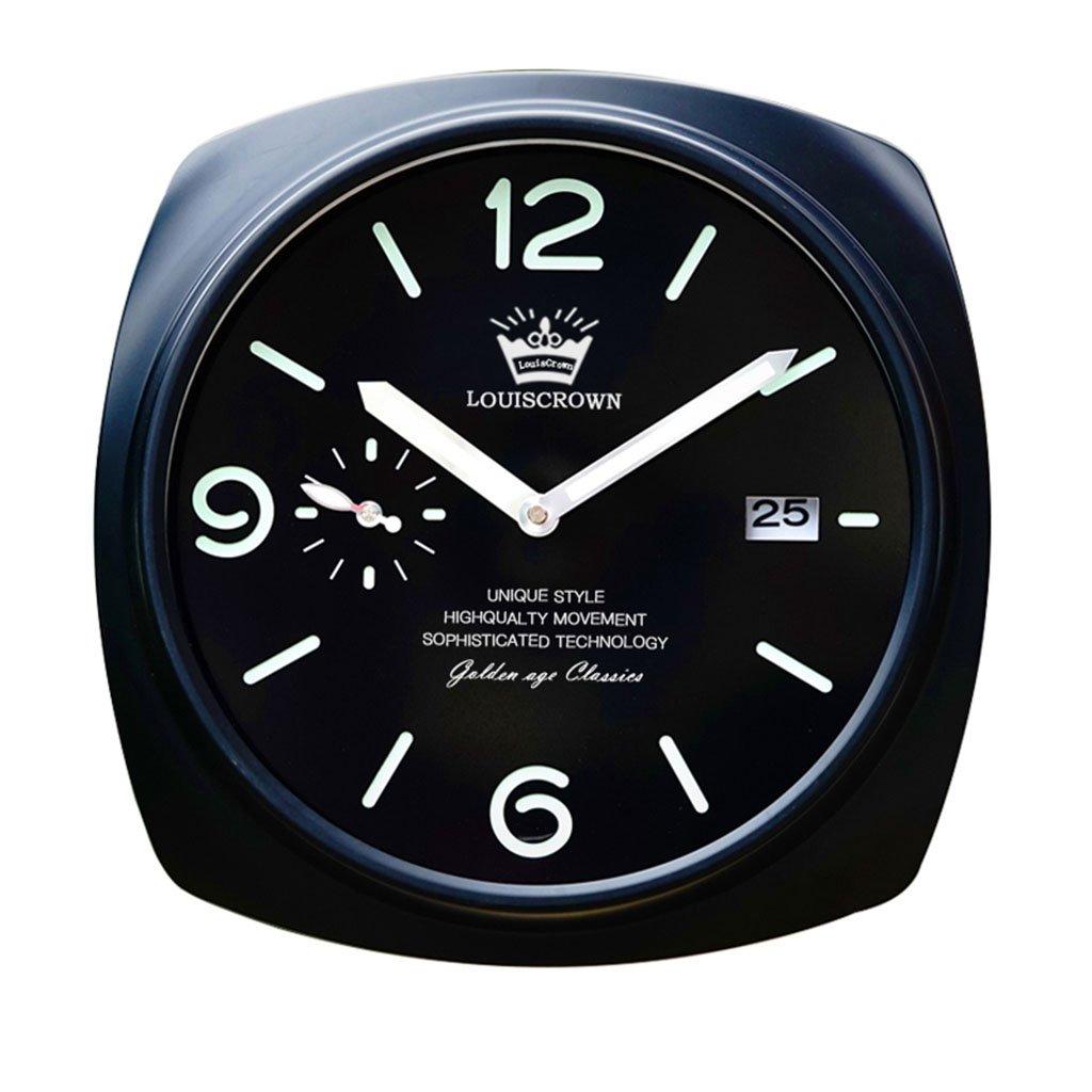 ホーム&時計 ダークなクラシックな装飾的な壁掛け時計、サイレントノンティッキング、12インチのブラックとシルバーのダイヤル ( 色 : C ) B07BRKM4J1 C C