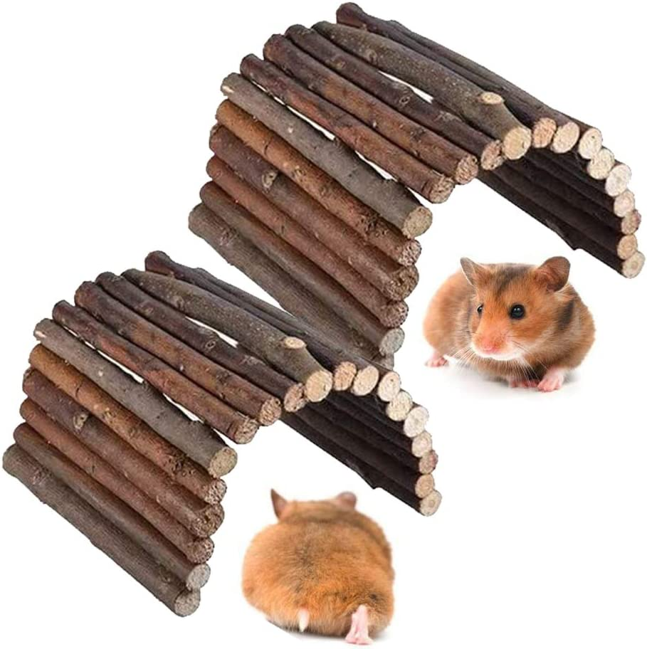 kathson Natural Hamster Wooden Platform Small Animal Chew Toy Gerbils Cage Habitat for Parakeets, Squirrel,Guinea Pigs(2 PCS)