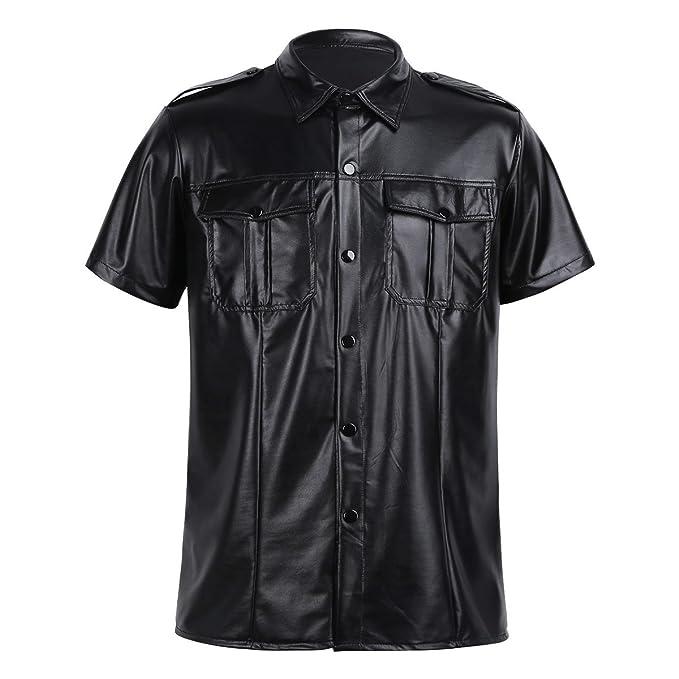 ... Cospaly Sexy Top Manga Corta Lencería Sexy Negro Camisa Chaleco Ropa Interior Erótica Polo Charol Noche Fiesta Clubwear: Amazon.es: Ropa y accesorios