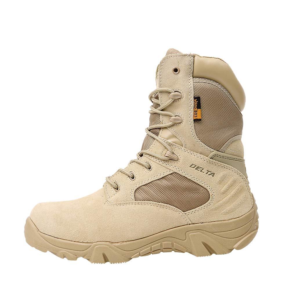 Juleya Botas Militares tá cticas | Combat Army Shoes para Hombres | Deportes al Aire Libre Que acampan yendo de excursió n Zapatos de Cuero Cremallera Laterales Ligeros Respirables X180806AQX02-J