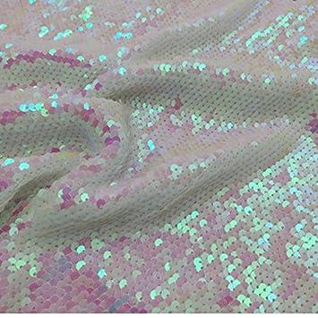 Tela de lentejuelas de la Sirenita cambiado blanco con tapa de dos Way Stretch tejidos Glitz