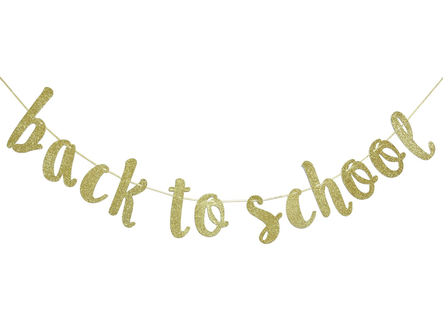 Back to School Gold Glitter Banner for First Day of School Teacher Banner Classroom Decor Decoration Home Schoolyard Party Supplies Cursive Bunting Photo Booth Props Sign