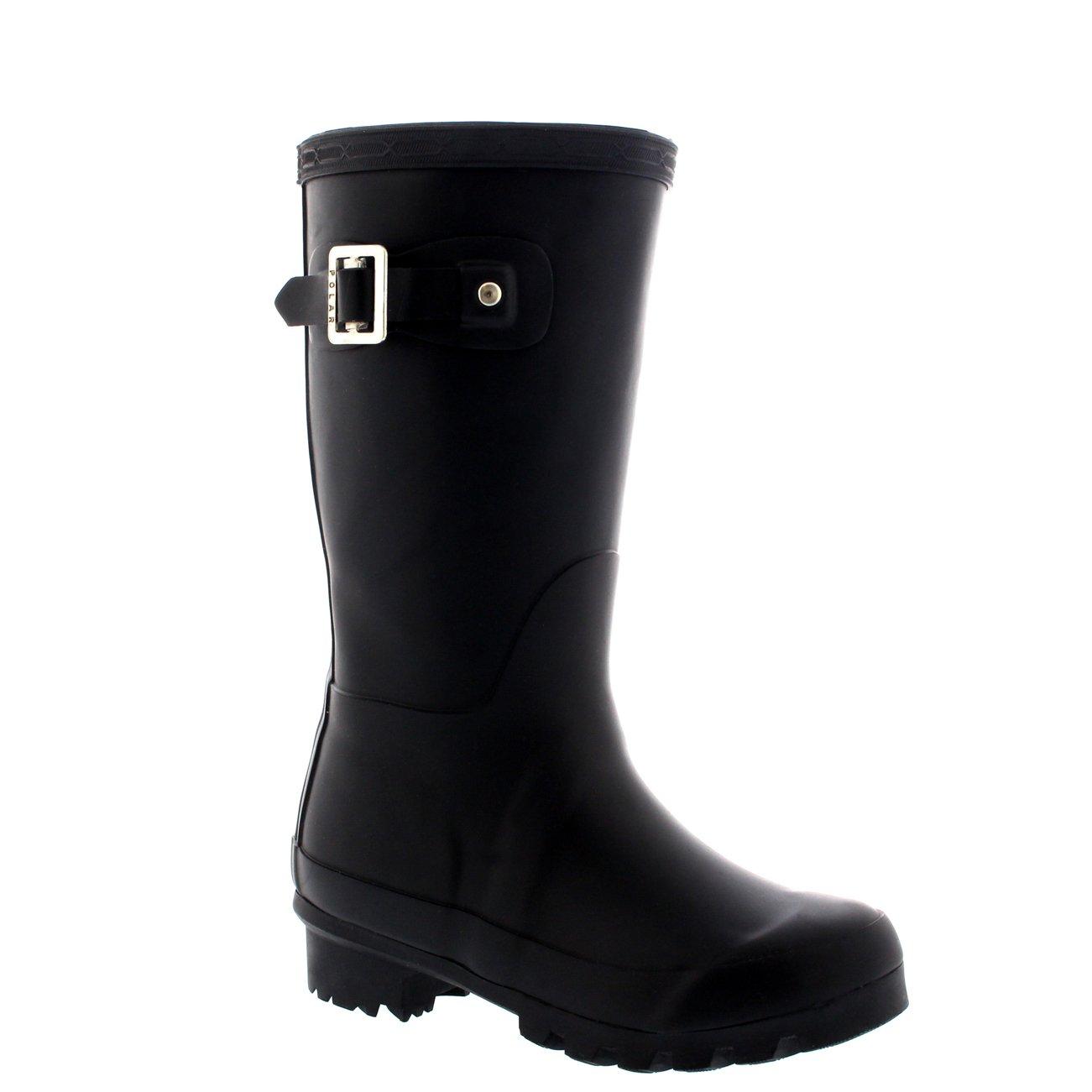 Unisex Kids Original Plain Wellie Rain Snow Winter Waterproof Mud Boots - 4 - BLA36 BL0189 by POLAR (Image #1)