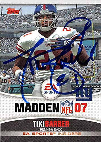 Tiki Barber autographed football card (New York Giants) 2006 Topps #5 RB Madden 07 EA Sports ()