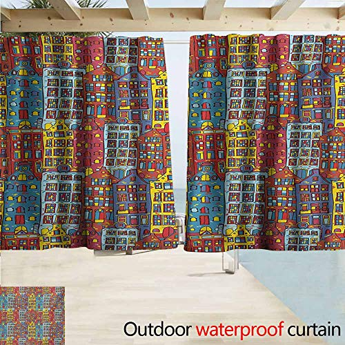 Zmcongz Cartoon Apartments Home Patio Outdoor Curtain Amsterdam Holland Cityscape Urban Sketch with Colorful Windows Print Perfect for Your Patio, Porch, Gazebo, or Pergola W55 xL72 Multicolor