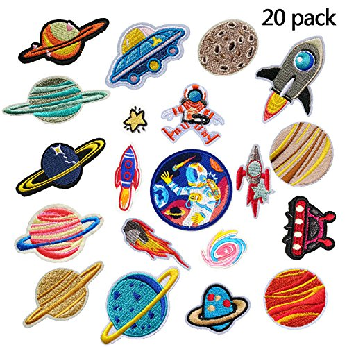 Iron On Patches 20 Pcs- DIY Sew Decoration Appliques Stickers Embroidery Patches Clothes, Dress ,Hat ,Jeans, Repair the Hole Stick (Solar (Sew Pillow Trim)