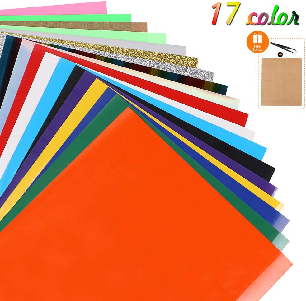 21 Pack Assorted Colors 12x10 Sheets Heat Press Machine with Teflon Sheet Iron On Vinyl for Cricut Xyron,Craft ROBO Heat Transfer Vinyl for T-Shirts RAIN QUEEN Silhouette Cameo