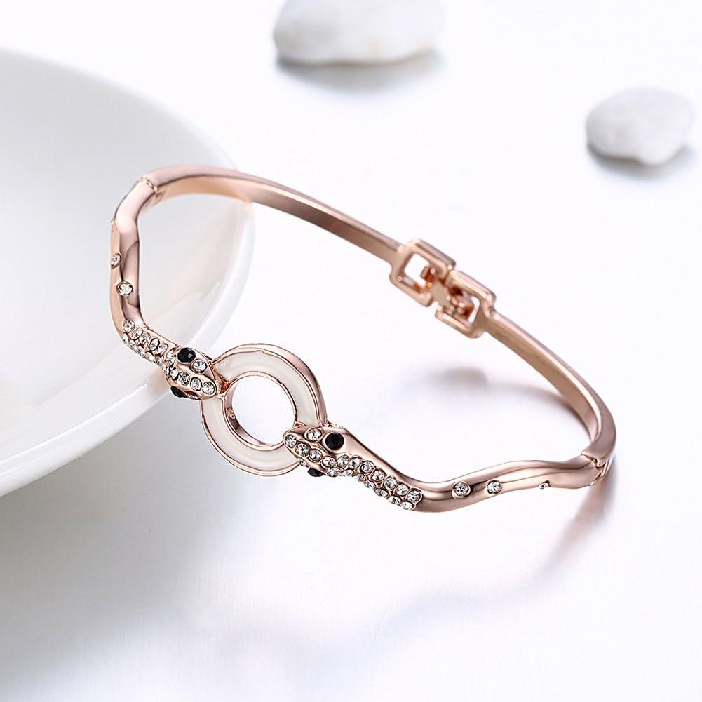 Lunule Women Rose Gold Plating Snake Shaped Waist Belt Black Circle with Rhinestone Bracelet