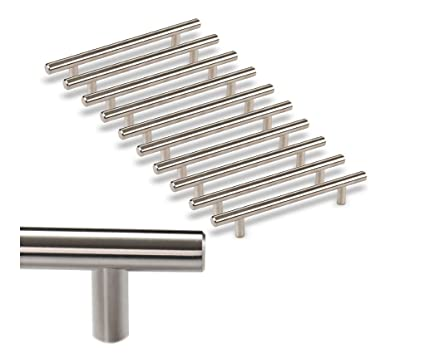 [10 Pack] Kitchen Cabinet Handles/ Pulls Stainless Steel I Cabinet Hardware  Bar Handle