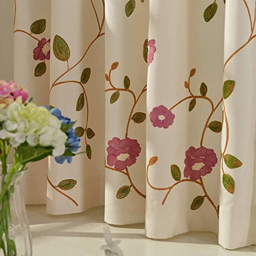 TIYANA Flower Curtain for Backdrop Grommet Top Cotton Cloth Fabric Elegant Rustic Window Treatment, W114xL96 inch, 1 Piece
