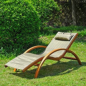 New MTN-G Wooden Patio Chaise Lounge Chair Outdoor Furniture Pool Garden Armrest Lounger-brown