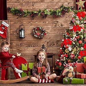 HMILYDYK 20PCS Xmas Tree Ornaments 8 INCH Red Poinsettia Flowers Festival Decor Artificial Flowers 6
