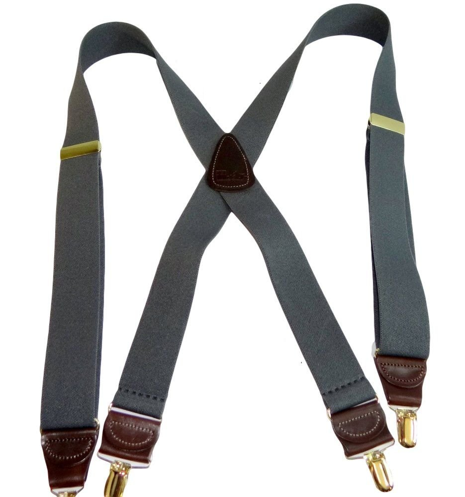 Hold-Ups Slate Gray Suspenders 1 1/2'' wide in X-back with Patented No-slip Gold Clips