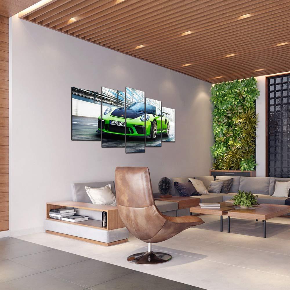 Voiture De Sport Verte De Porsche Peinture Murale Art sur Toile Oeuvre dart Tableau Impression sur Toile pour La D/écoration Maison Salon Five-Seller 5 Panel avec Cadre,50/_x/_100/_cm