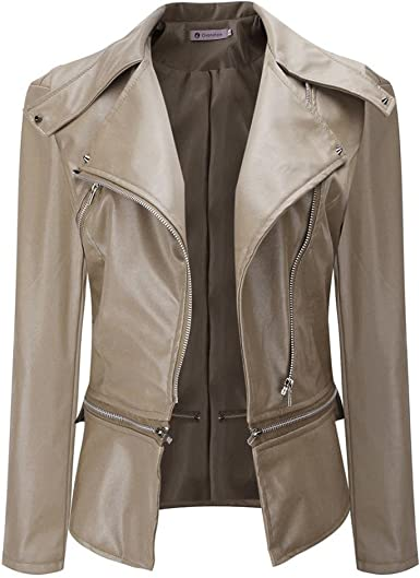 Faux leather jacket BOMBER Coat Top SHORT blazer BIKER power shoulder military