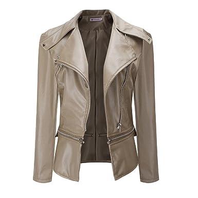50194537f8b0 Women Winter Warm Faux Collar Short Coat Leather Jacket Parka Overcoat  Outwear by TOPUNDE Beige