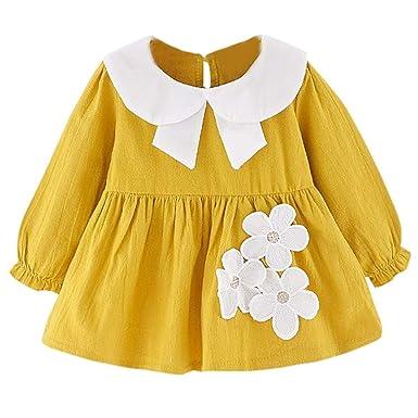 Vestido Niñas, FELZ Floral Princesa Vestido de mangas largas ...