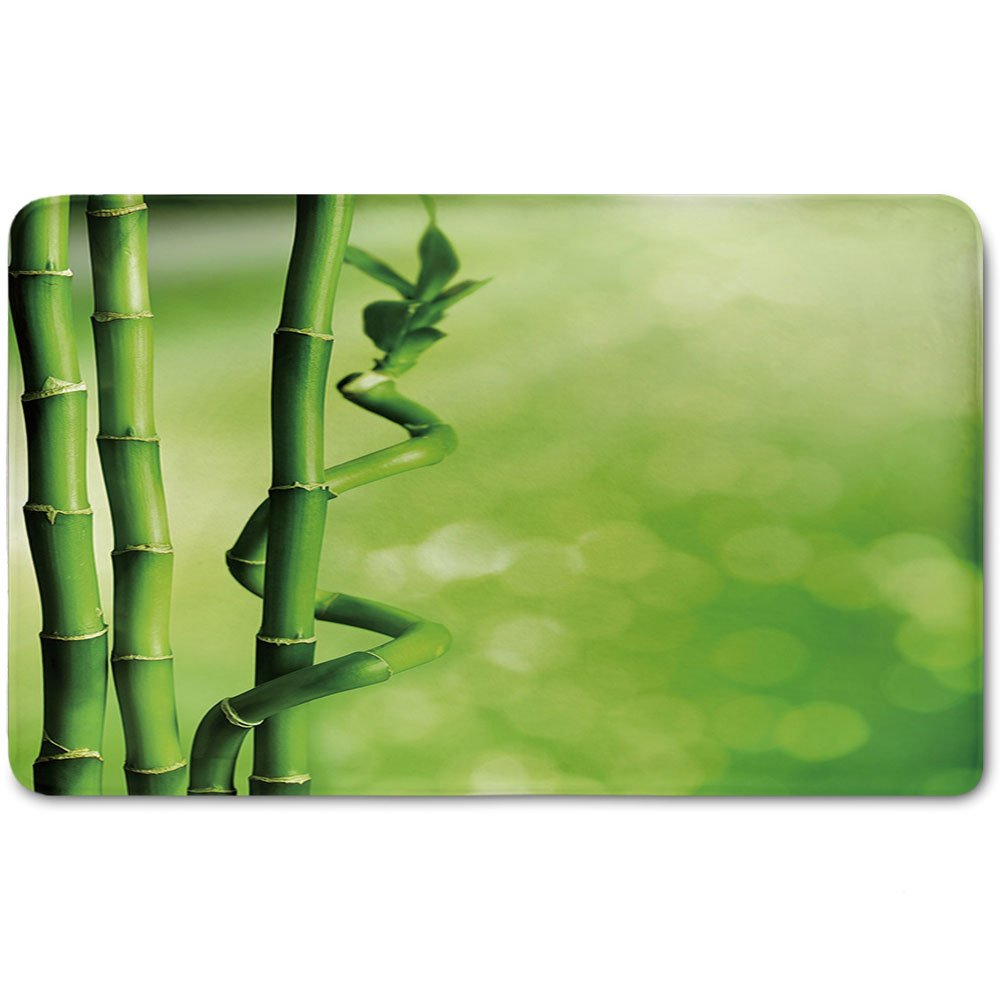 Memory Foam Bath Mat,Green,Bamboo Stems Nature Ecology Sunbeams Soft Spring Scenic Spa Health Relaxation DecorativePlush Wanderlust Bathroom Decor Mat Rug Carpet with Anti-Slip Backing,Green Light Gr