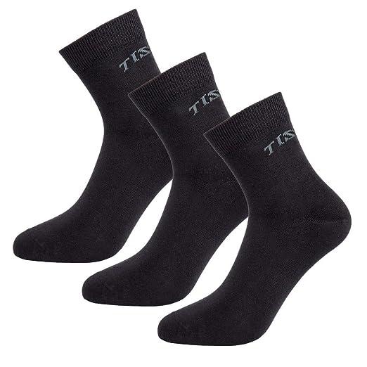 Tisoks 3 Pack Black Mens Sports Socks Anti Stink Anti fungal Casual Crew Socks Anti Athletes