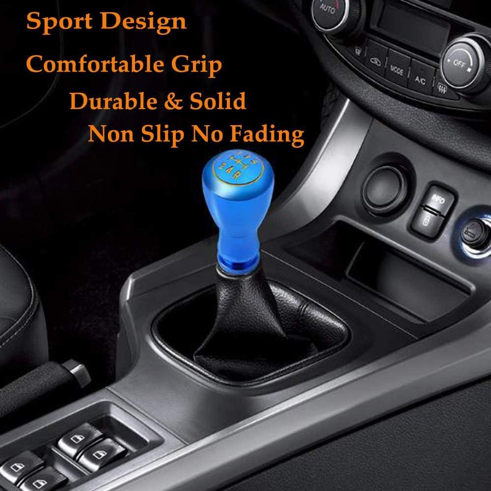 Semoss Universal 5 Gang Manuell Schaltknauf Aluminium Sport Racing Schalthebel mit 3 Adapters 8mm 10mm 12mm f/ür die meisten Autos Rot