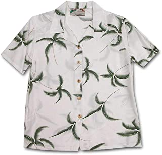 product image for Paradise Found Women's Palm Tree Leaf Aloha Shirt, White, L