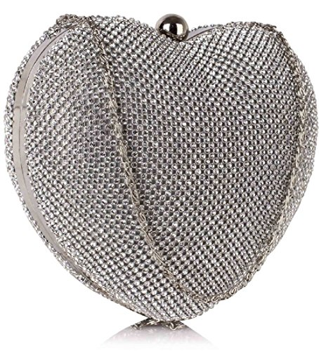Silver Crystal Sparkly Evening Clutch Shaped FREE Bag UK Heart Beautiful DELIVERY Diamante UgdU6x