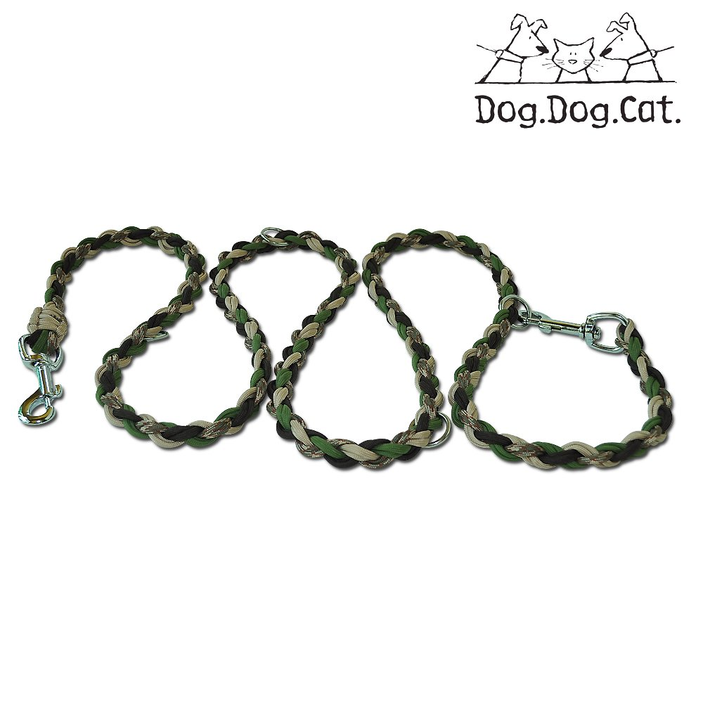 Camo Reflective Dog and Cat Paracord Double Ended Versatile Hands-Free Dog Walking or Training Leash (6 Foot Adjustable,Camo Reflective)