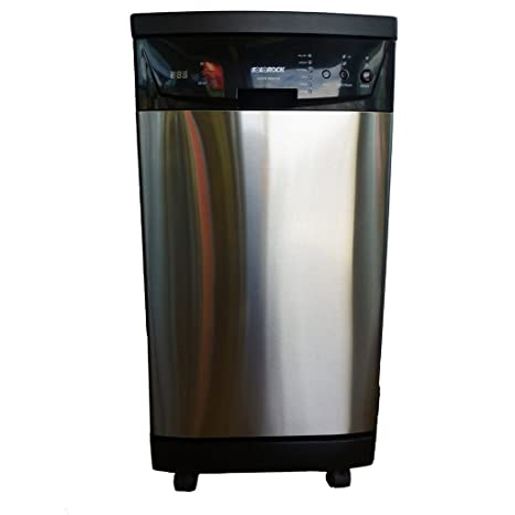 Bon SoloRock 18u0026quot; Deluxe Stainless Steel Portable Dishwasher   Black