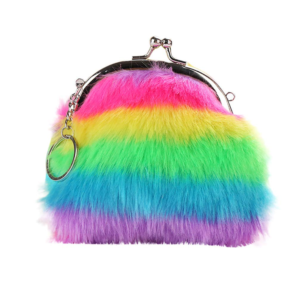 Sikye Rabbit Fur Colorful Striped Hair Ball Keychain Ladies Plush Purse 2 in 1 Key Attachment
