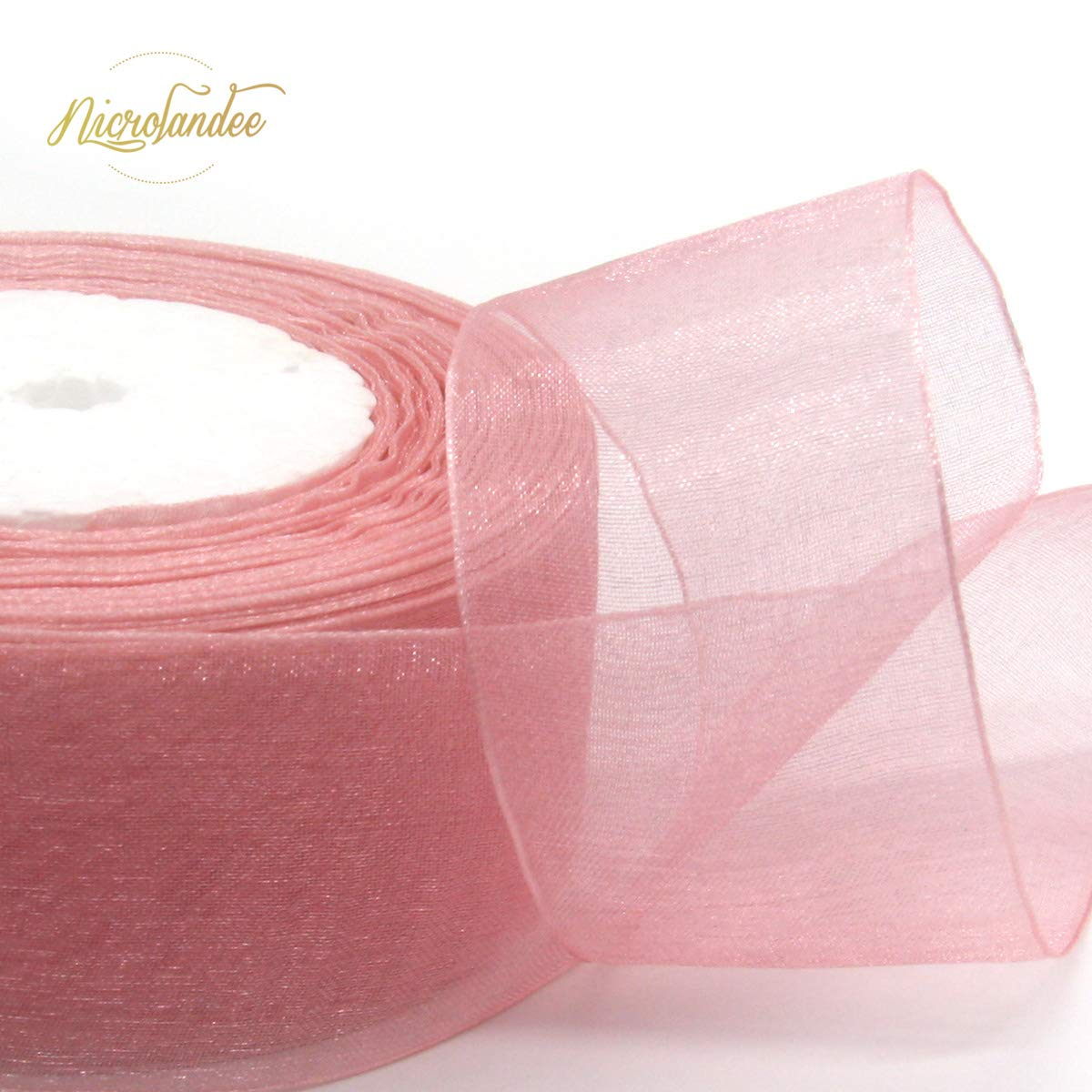 NICROLANDEE 3pcs Sheer Chiffon Ribbon 1.5Inch×49 Yards Dusty Rose Fading Ribbon Set for Wedding Gift Package Valentines Bouquets Wrapping Birthday Baby Shower Home Decor Wreath Decorations Fabric by NICROLANDEE (Image #4)