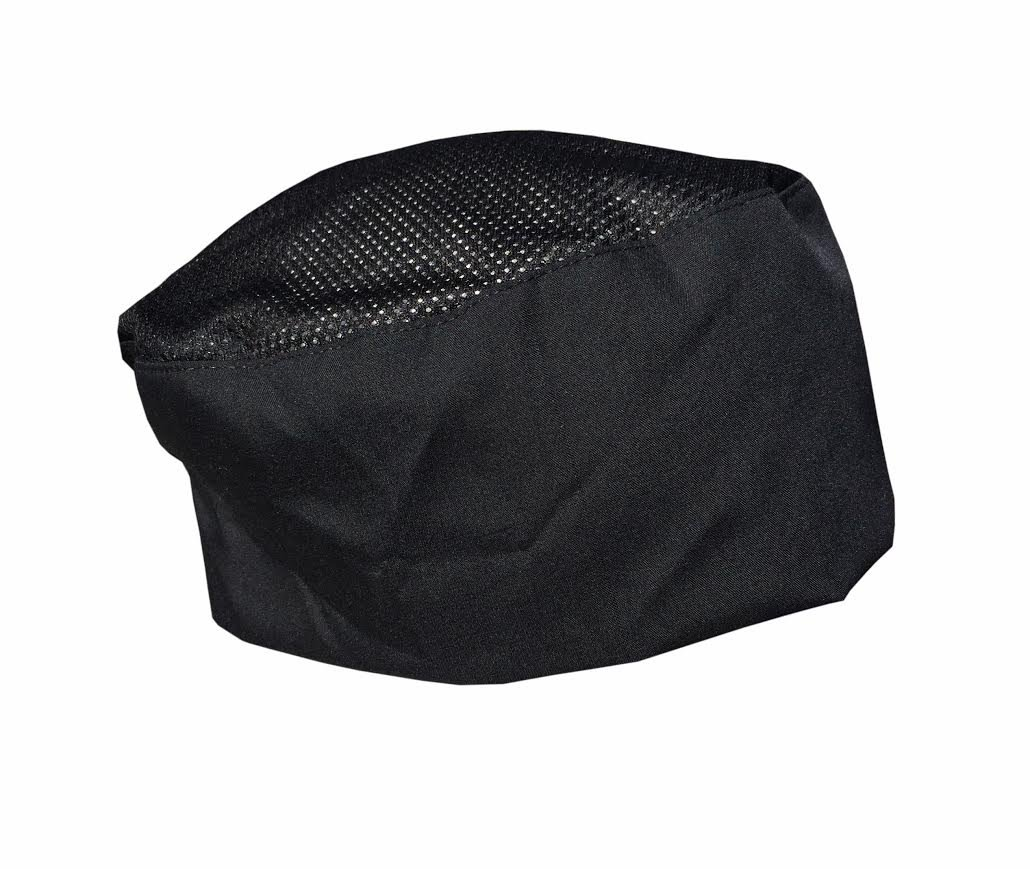 CHEFSKIN COOL MAX Beanie Mesh Top Baker Cook Chef Hat Ultra Light and Cool also good for surgeons Drs MDs (SET of 3 BLACK (best value))