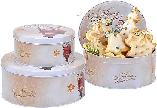 Set de 3 Latas de Galletas Blanco con Diseño Navideño y Merry ...