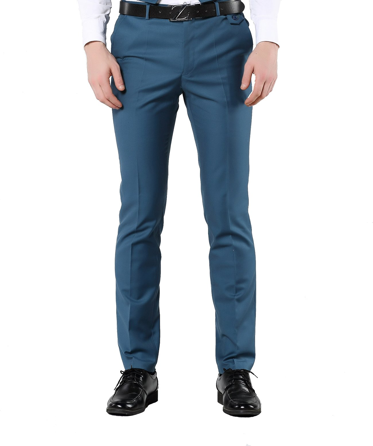 UNINUKOO Men's Colorful Casual Suit Pants Slim Fit US Size 31 (Label Size S) Sea Blue by UNINUKOO
