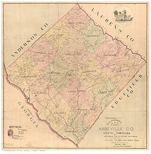 Abbeville County South Carolina 1895 - Wall Map With Homeowner names Reprint