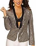 Forum Novelties Women's Disco Sequin Blazer-Std-Female, Silver, Standard