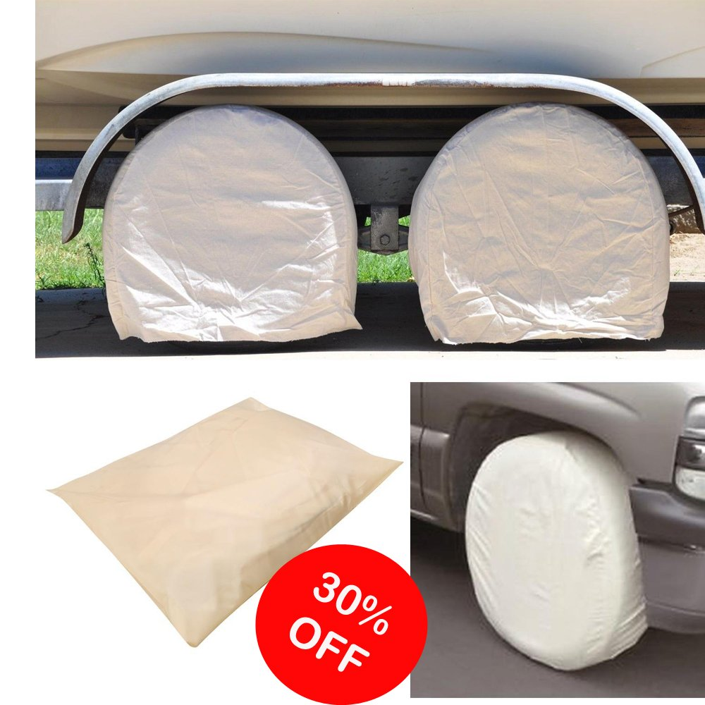 Cyber Monday Deal Week Clearance Sale Dtemple Waterproof 28 Inch Wheel Tire Cover For RV Auto Car Truck Trailer Tire Protectors(4 PACK, Beige)