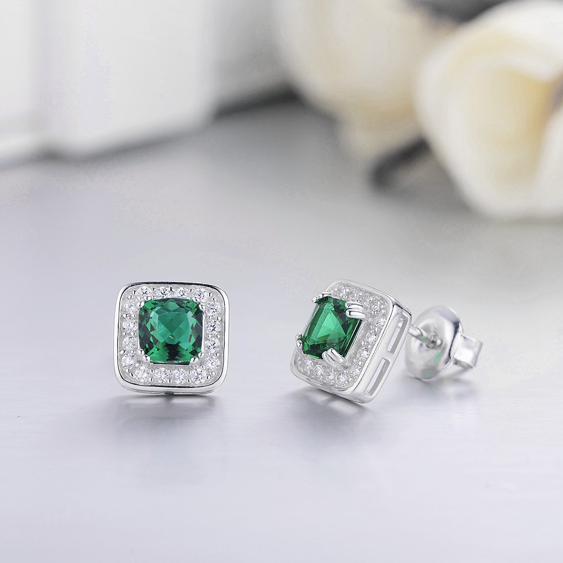Santuzza Stearling Silver Halo Style 1 Ct Size Emerald Color Stone Earrings Crystal Stone CZ Fashion Jewelry