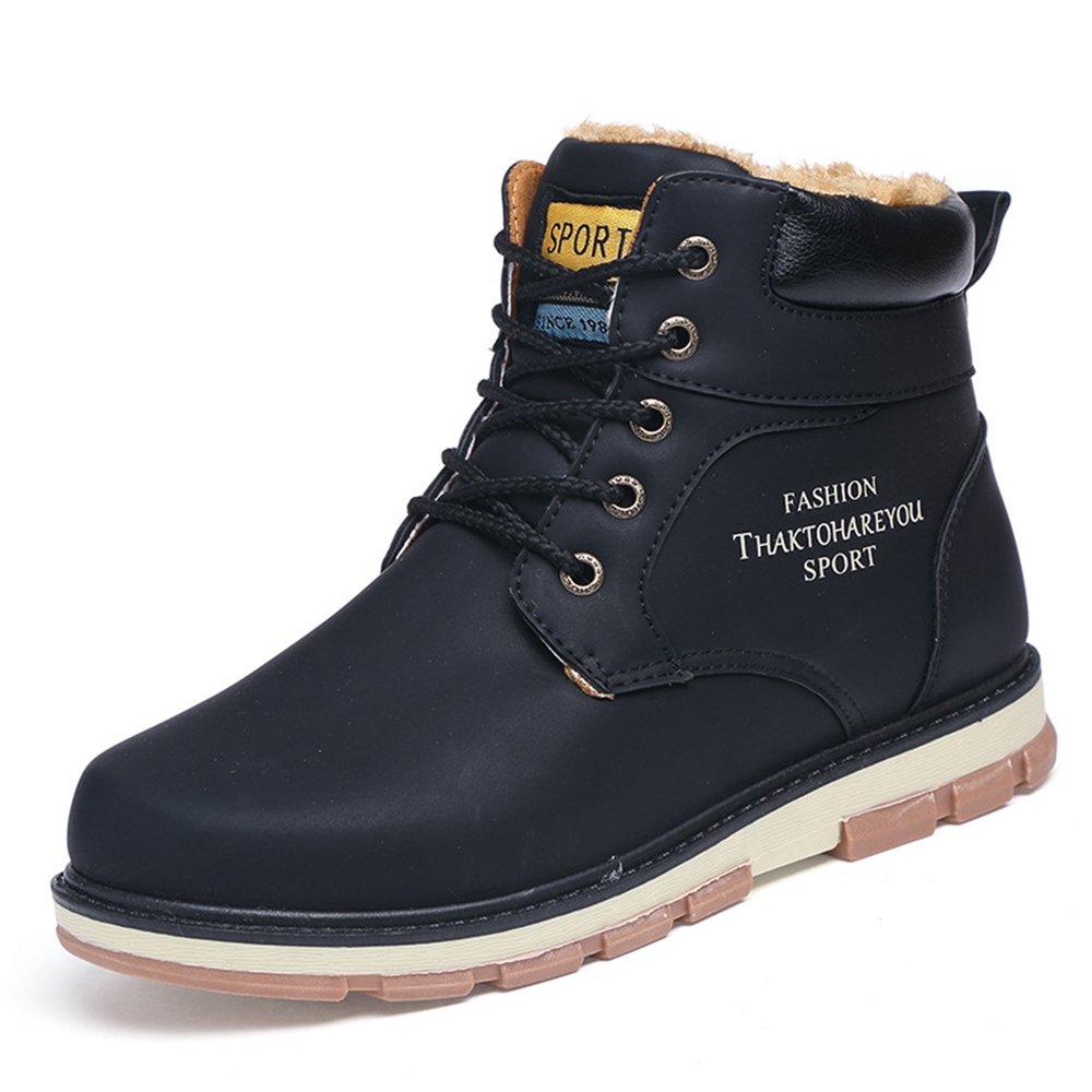 AARDIMI Mode Winter Männer Schuhe Mitte Wade Männer Arbeits Stiefel Casual Warme Winter Schnee Stiefel Große Größe Männliche Lederstiefel Schwarz2